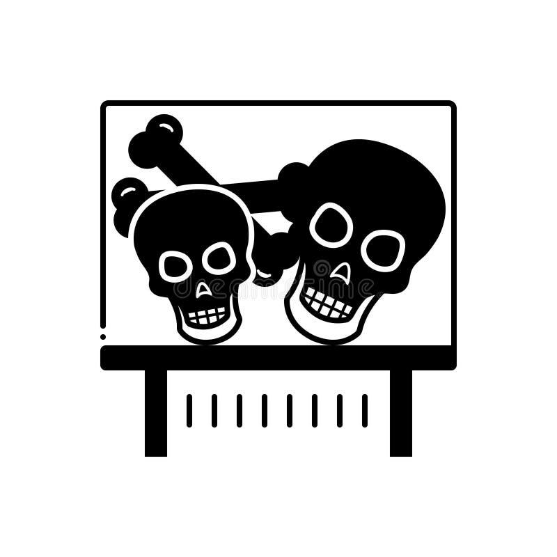 Μαύρο στερεό εικονίδιο για το έκθεμα, το κρανίο και το μουσείο κόκκαλων διανυσματική απεικόνιση