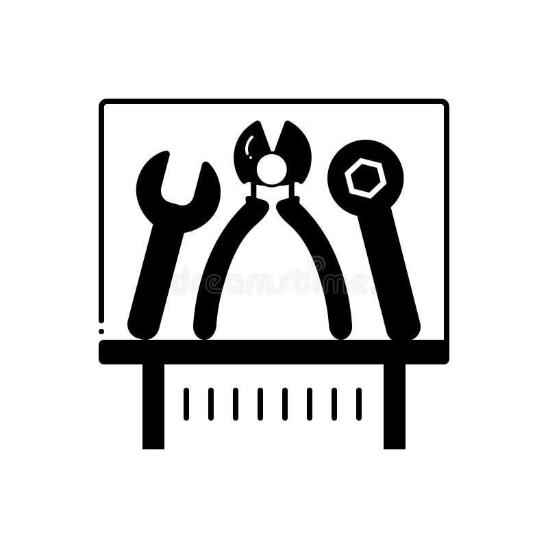 Μαύρο στερεό εικονίδιο για το έκθεμα, τη συσκευή και τον εξοπλισμό εργαλείων ελεύθερη απεικόνιση δικαιώματος