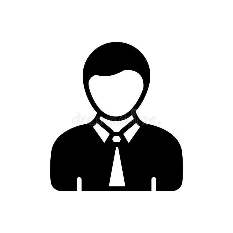 Μαύρο στερεό εικονίδιο για το αγόρι, τις νεολαίες και το άτομο απεικόνιση αποθεμάτων