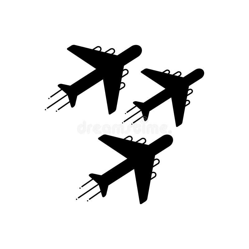 Μαύρο στερεό εικονίδιο για το αεριωθούμενο έκθεμα, την ικανότητα αμέσου αντιδράσεως και το αεροπλάνο διανυσματική απεικόνιση
