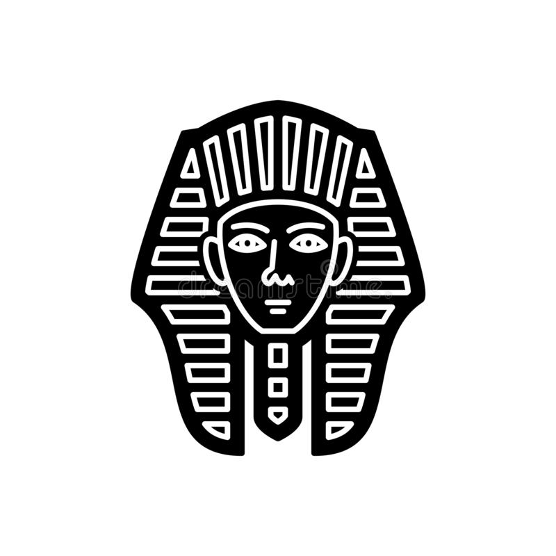 Μαύρο στερεό εικονίδιο για το αιγυπτιακά πρόσωπο, το giza και το μουσείο διανυσματική απεικόνιση