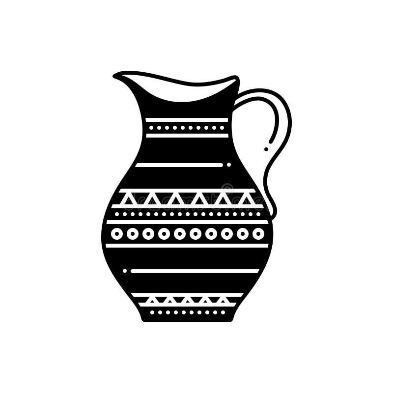 Μαύρο στερεό εικονίδιο για το βάζο, την αντίκα και το μουσείο διανυσματική απεικόνιση