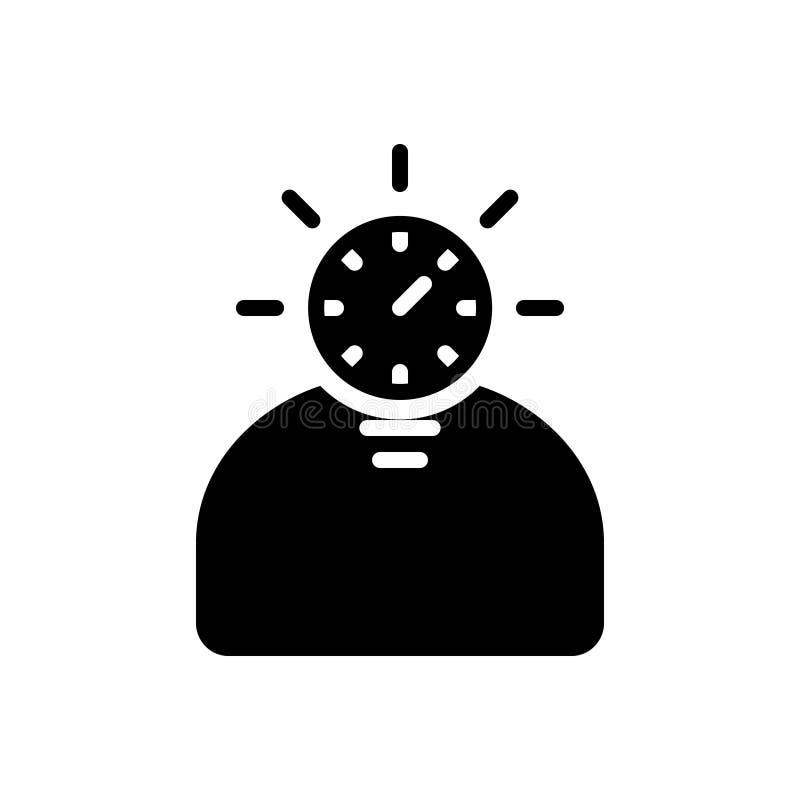 Μαύρο στερεό εικονίδιο για το γρήγορο αρχάριο, έξυπνος και έντονος απεικόνιση αποθεμάτων