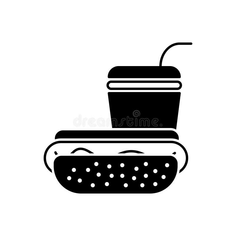 Μαύρο στερεό εικονίδιο για το γρήγορο φαγητό, το εστιατόριο και τα παλιοπράγματα διανυσματική απεικόνιση