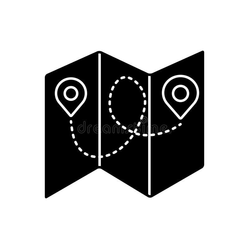 Μαύρο στερεό εικονίδιο για το διπλωμένους χάρτη, plicate και το μουσείο απεικόνιση αποθεμάτων