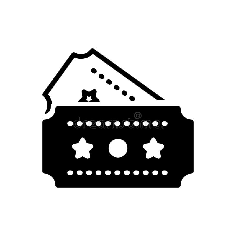 Μαύρο στερεό εικονίδιο για το εισιτήριο, το νύχι και το πέρασμα ελεύθερη απεικόνιση δικαιώματος