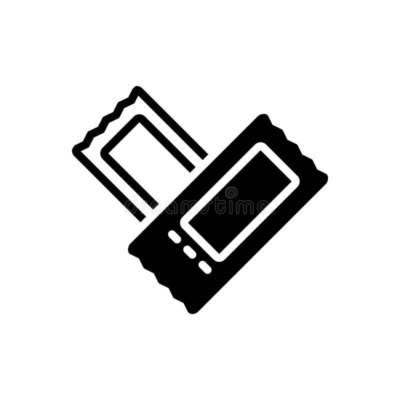 Μαύρο στερεό εικονίδιο για το εισιτήριο, το νύχι και το πέρασμα απεικόνιση αποθεμάτων