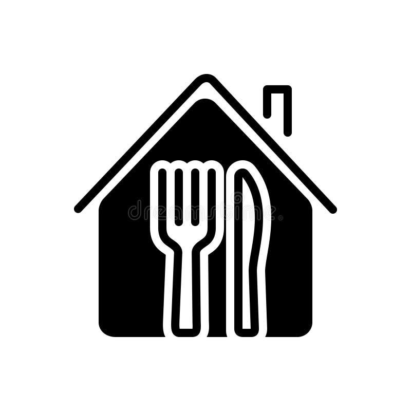 Μαύρο στερεό εικονίδιο για το εστιατόριο, το κατάστημα και τα τρόφιμα ελεύθερη απεικόνιση δικαιώματος