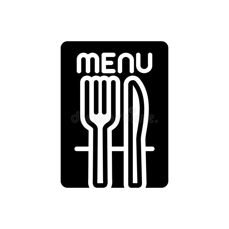 Μαύρο στερεό εικονίδιο για το εστιατόριο, το κατάστημα και τα τρόφιμα απεικόνιση αποθεμάτων