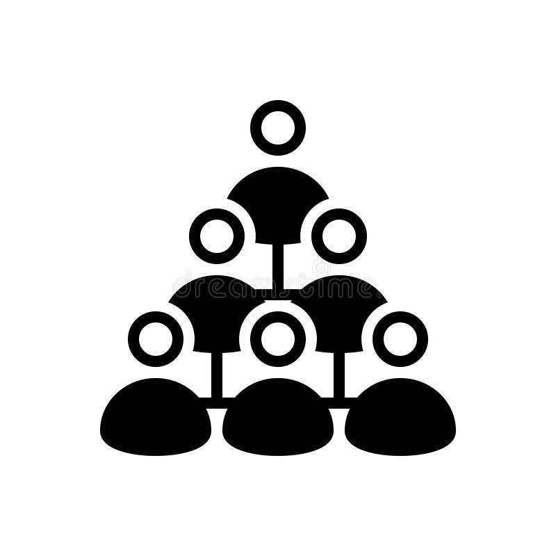 Μαύρο στερεό εικονίδιο για το μάρκετινγκ, τη διαχείριση και την ομαδική εργασία Mlm απεικόνιση αποθεμάτων