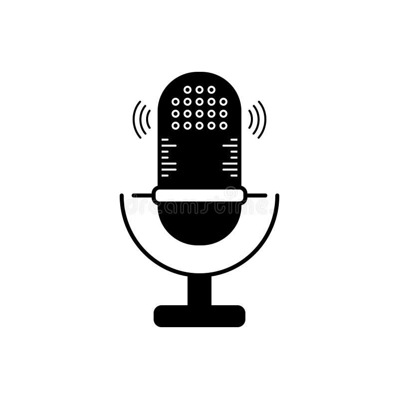 Μαύρο στερεό εικονίδιο για το μικρόφωνο, τον ομιλητή και τη φωνή ελεύθερη απεικόνιση δικαιώματος