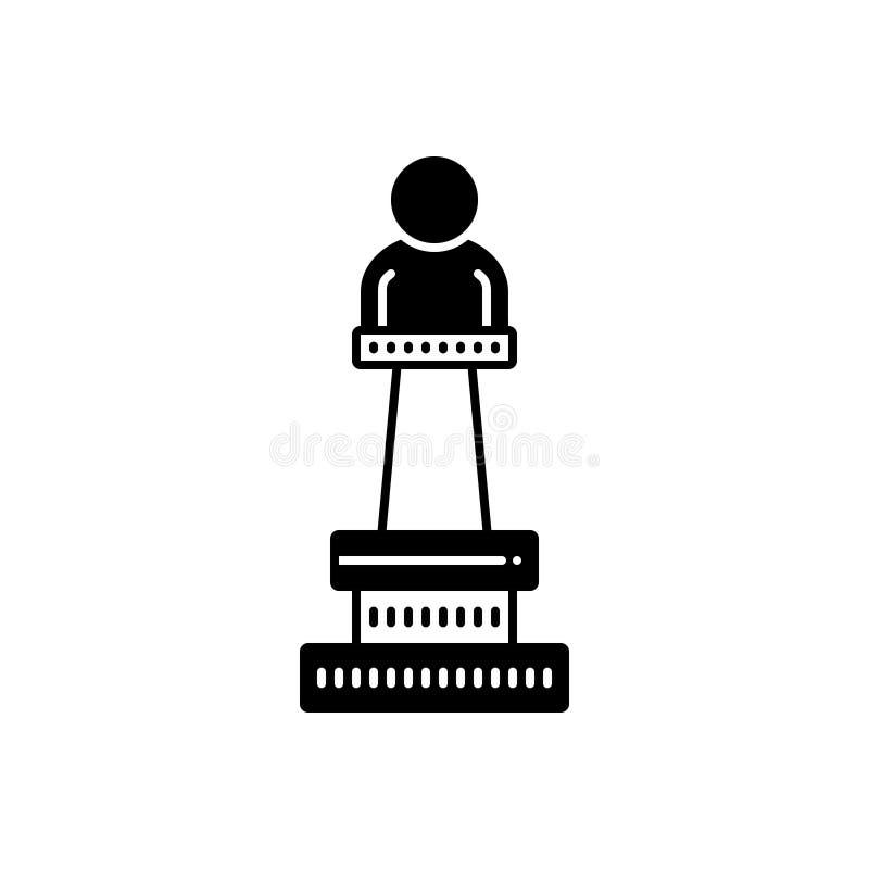 Μαύρο στερεό εικονίδιο για το μνημείο, την επίδειξη και το μουσείο απεικόνιση αποθεμάτων