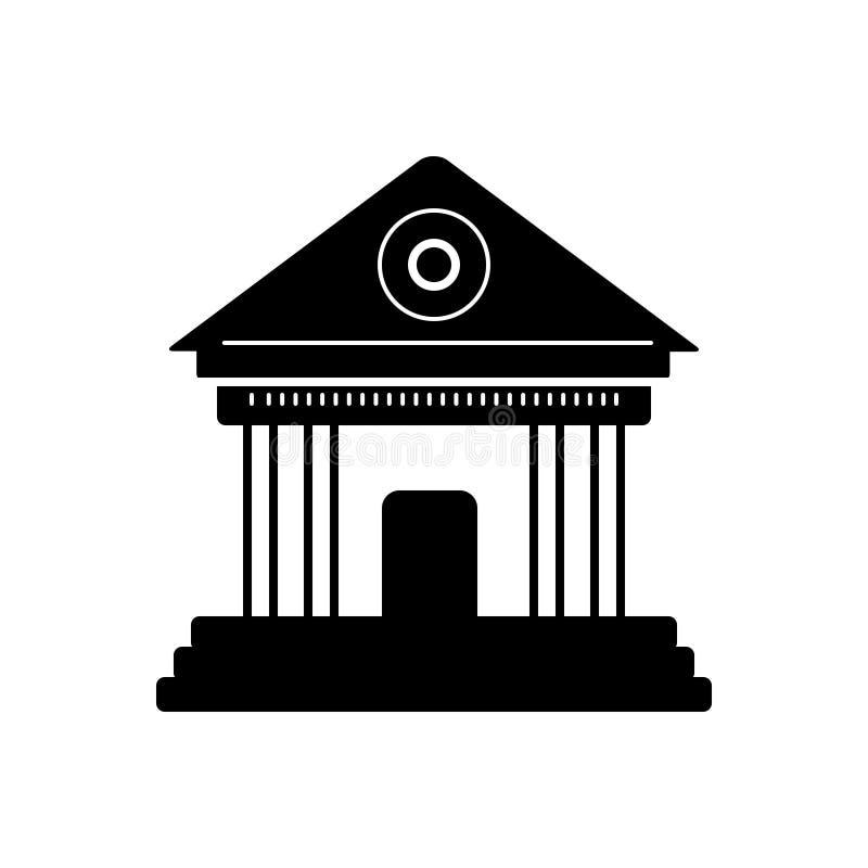 Μαύρο στερεό εικονίδιο για το μουσείο, το κτήριο και τη μυθολογία διανυσματική απεικόνιση