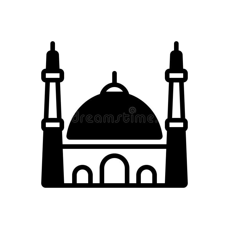 Μαύρο στερεό εικονίδιο για το μουσουλμανικό τέμενος, την Κωνσταντινούπολη και μουσουλμάνο διανυσματική απεικόνιση