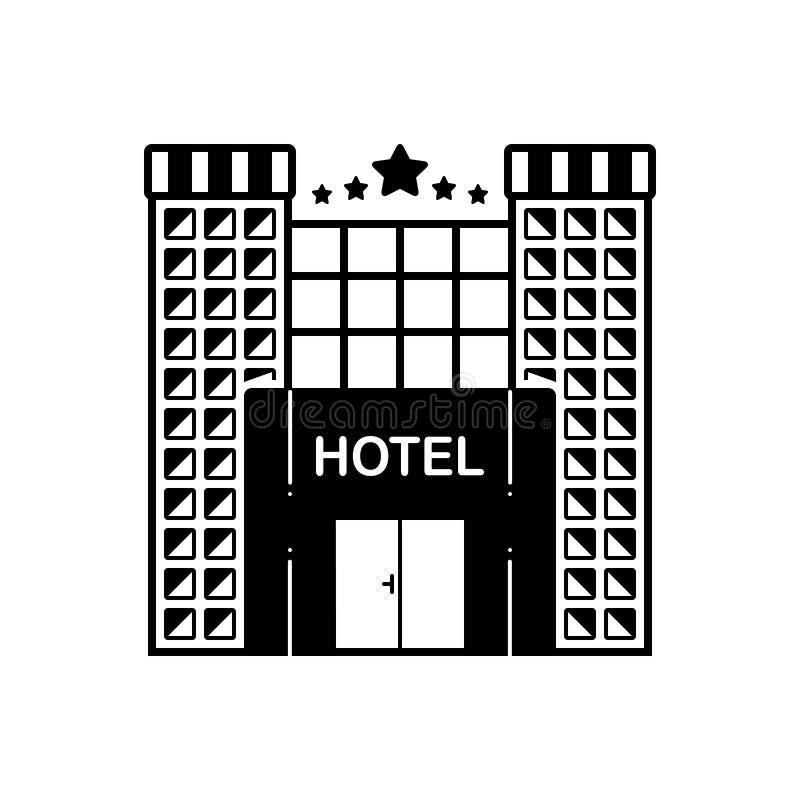 Μαύρο στερεό εικονίδιο για το ξενοδοχείο, πέντε αστέρων και χτίζοντας ελεύθερη απεικόνιση δικαιώματος