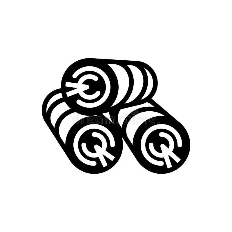 Μαύρο στερεό εικονίδιο για το ξύλο, την ξυλεία και την ξυλεία διανυσματική απεικόνιση