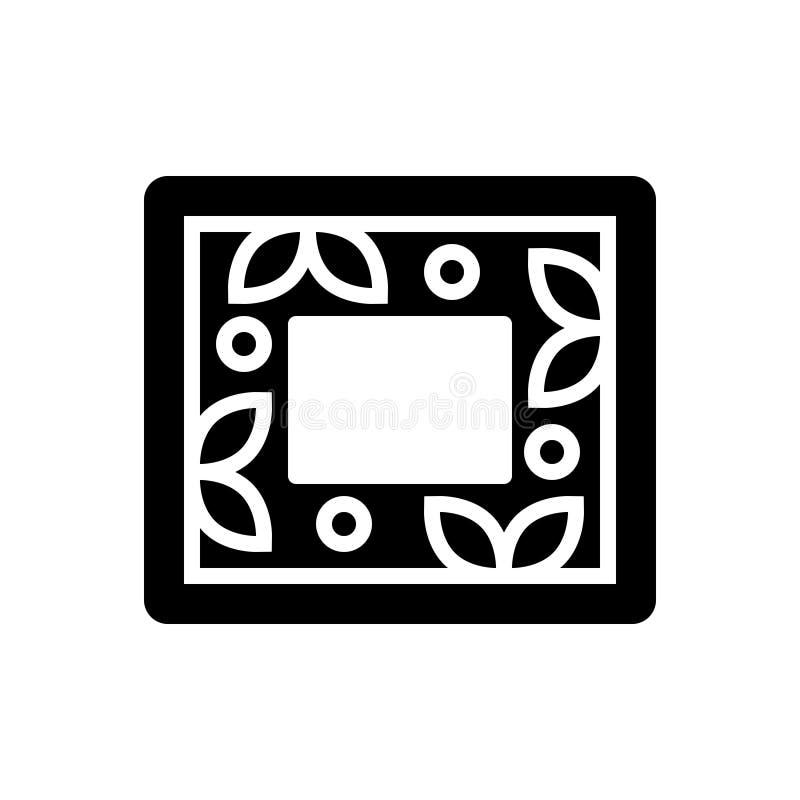 Μαύρο στερεό εικονίδιο για το πλαίσιο, τη φωτογραφία και τα πλαίσια διανυσματική απεικόνιση
