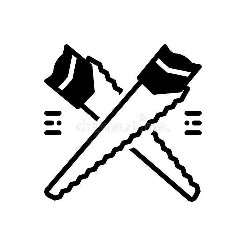Μαύρο στερεό εικονίδιο για το πριόνι, την ξυλουργική και το ξύλο χεριών διανυσματική απεικόνιση