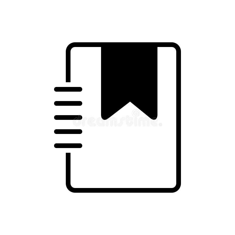 Μαύρο στερεό εικονίδιο για το σελιδοδείκτη, τη συμπάθεια και το βιβλίο απεικόνιση αποθεμάτων