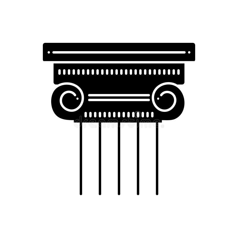 Μαύρο στερεό εικονίδιο για το στυλοβάτη, τη στήλη και το μουσείο ελεύθερη απεικόνιση δικαιώματος