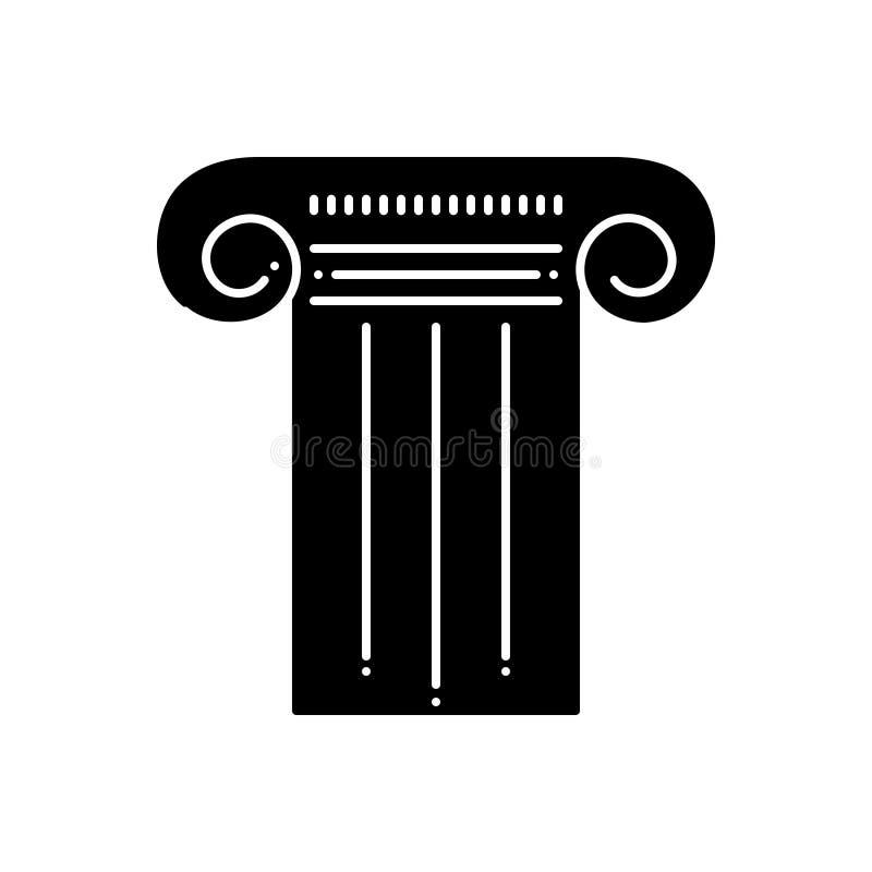 Μαύρο στερεό εικονίδιο για το στυλοβάτη, τη στήλη και τον πυλώνα απεικόνιση αποθεμάτων