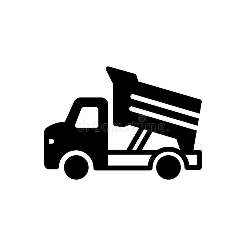 Μαύρο στερεό εικονίδιο για το φορτηγό απορρίψεων, την κατασκευή και τη γη ελεύθερη απεικόνιση δικαιώματος