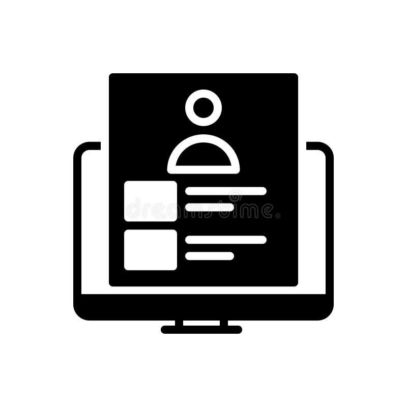 Μαύρο στερεό εικονίδιο για το χαρτοφυλάκιο, παρουσίαση και infographic απεικόνιση αποθεμάτων