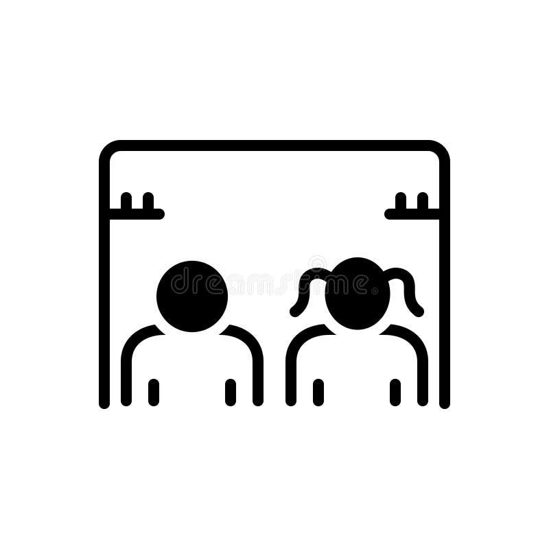 Μαύρο στερεό εικονίδιο για το χώρο ανάπαυσης, άνεση και για άνδρες και για γυναίκες απεικόνιση αποθεμάτων