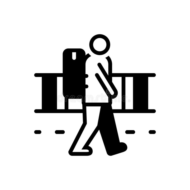 Μαύρο στερεό εικονίδιο για το vagrant, strolling και ψιλόλιγνος διανυσματική απεικόνιση