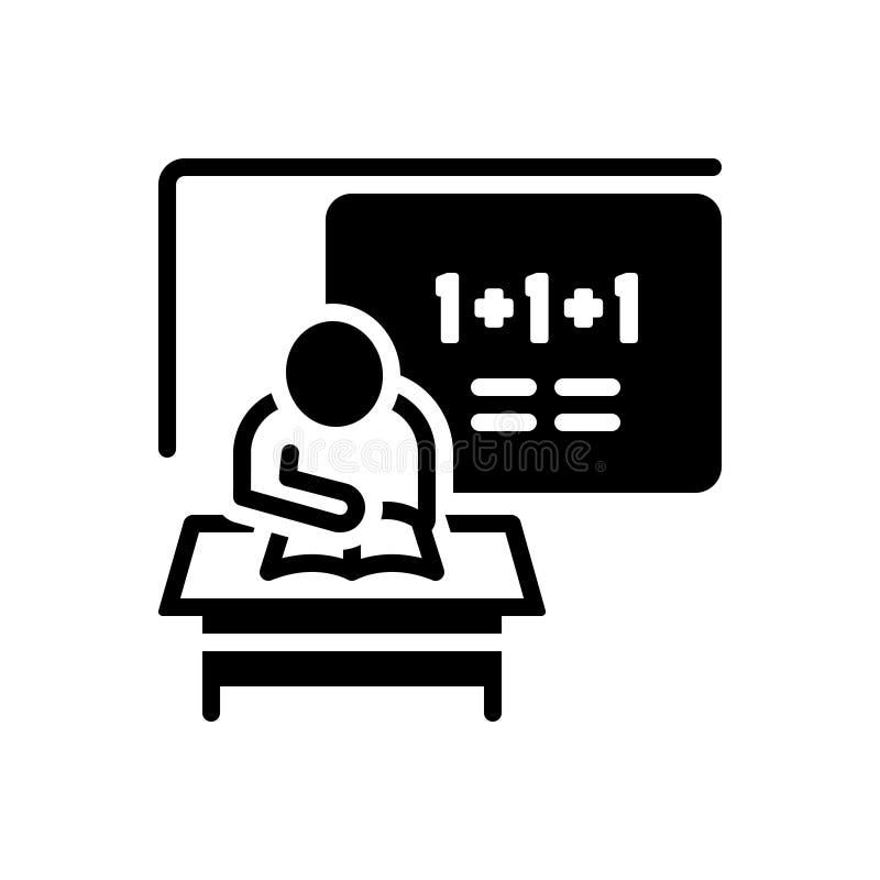Μαύρο στερεό εικονίδιο για Classwork, το σπουδαστή και τη μελέτη απεικόνιση αποθεμάτων