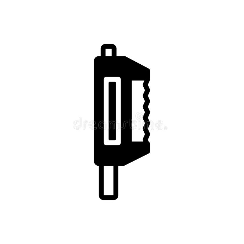 Μαύρο στερεό εικονίδιο για Fretsaw, την ξυλουργική και την κατασκευή απεικόνιση αποθεμάτων