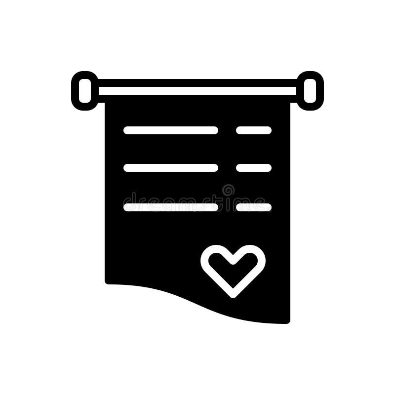 Μαύρο στερεό εικονίδιο για Invite, την κάρτα και την επιστολή απεικόνιση αποθεμάτων
