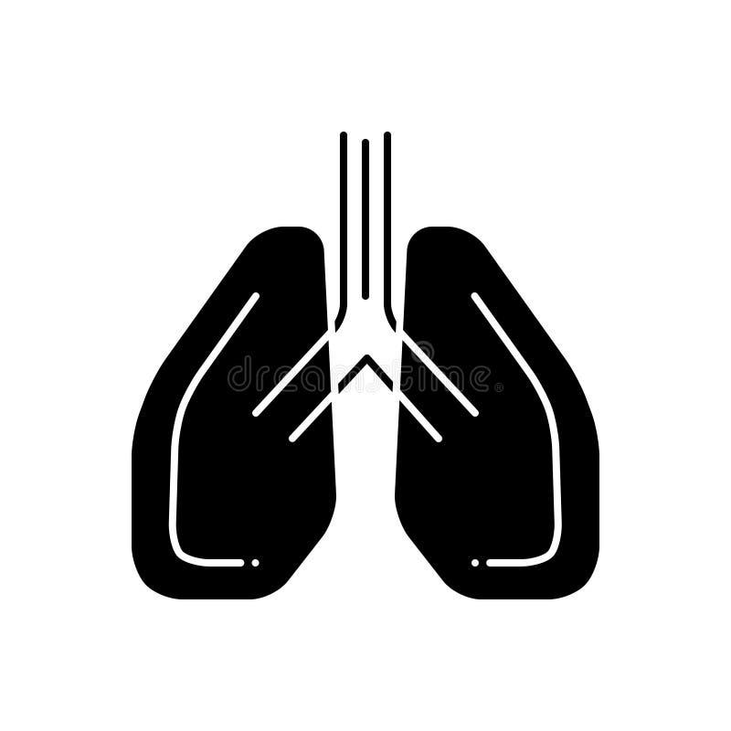 Μαύρο στερεό εικονίδιο για Pulmonology, τους πνεύμονες και την επεξεργασία ελεύθερη απεικόνιση δικαιώματος