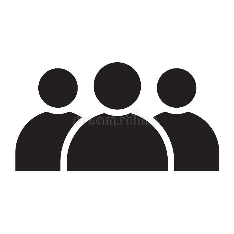 Μαύρο στερεό εικονίδιο μελών ομάδας απεικόνιση αποθεμάτων