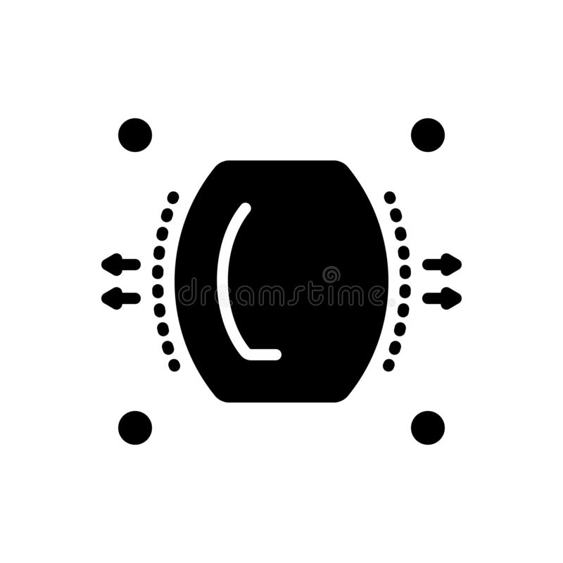 Μαύρο στερεό εικονίδιο τη διασπορά, που διαδίδονται για και τη διαστολή ελεύθερη απεικόνιση δικαιώματος