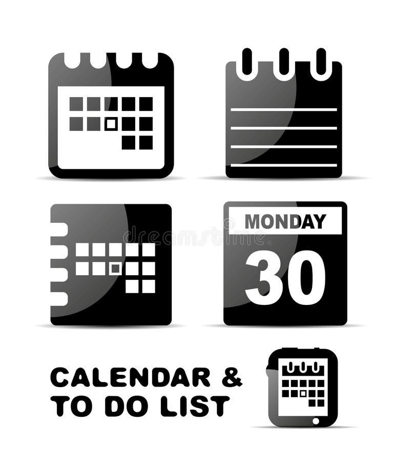 Μαύρο στιλπνό σύνολο ημερολογιακών εικονιδίων διανυσματική απεικόνιση