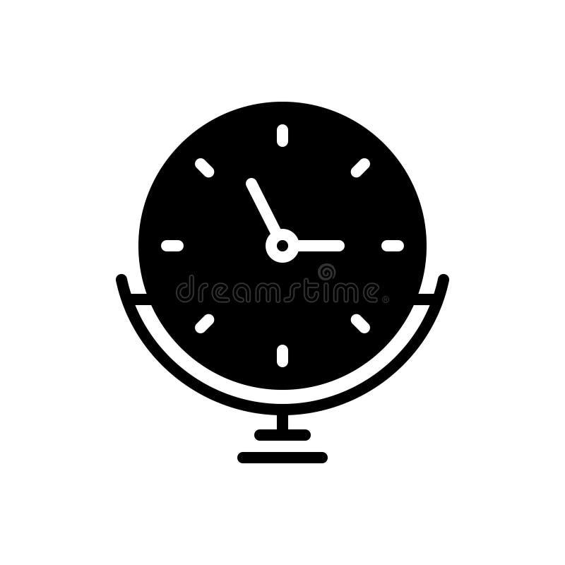 Μαύρο συμπαγές εικονίδιο για ρολόι, βάση και συναγερμό απεικόνιση αποθεμάτων