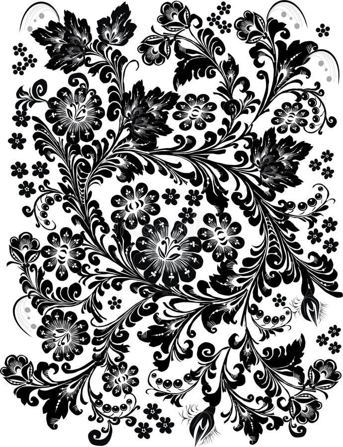 μαύρο σχέδιο floral απεικόνιση αποθεμάτων
