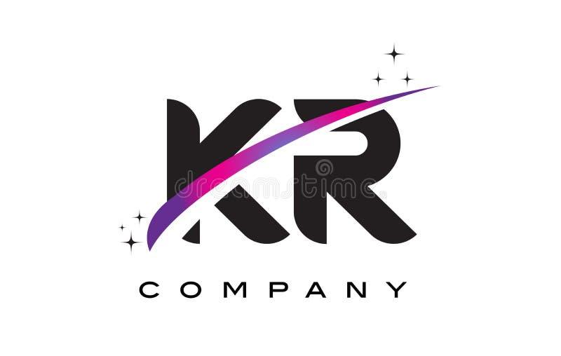 Μαύρο σχέδιο λογότυπων επιστολών KR Κ Ρ με πορφυρό ροδανιλίνης Swoosh ελεύθερη απεικόνιση δικαιώματος
