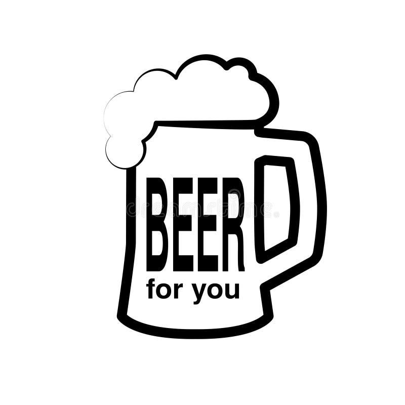 Μαύρο σύμβολο της μπύρας Πλήρης πίντα εικονιδίων της μπύρας με τον αφρό σχεδιάστε τη γραμμή Εικονίδιο μπύρας με την μπύρα κειμένω απεικόνιση αποθεμάτων