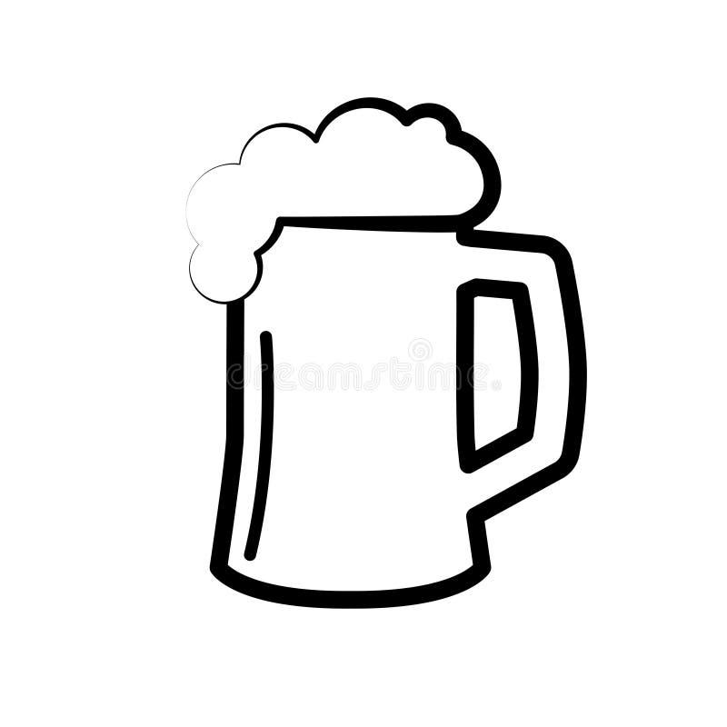 Μαύρο σύμβολο της μπύρας Πλήρης πίντα εικονιδίων της μπύρας με τον αφρό σχεδιάστε τη γραμμή διανυσματική απεικόνιση