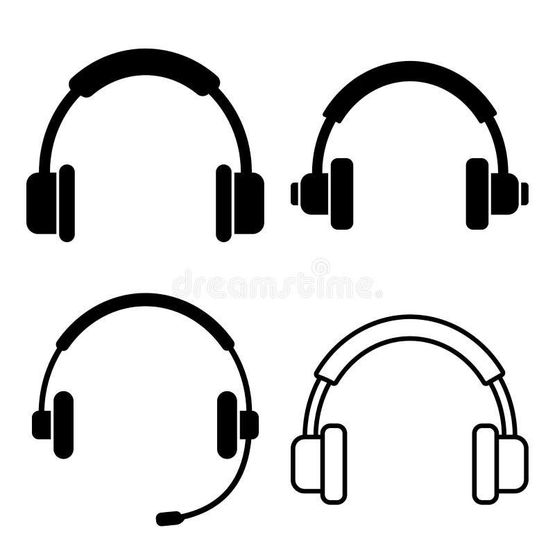 Μαύρο σύνολο ακουστικού r διανυσματική απεικόνιση