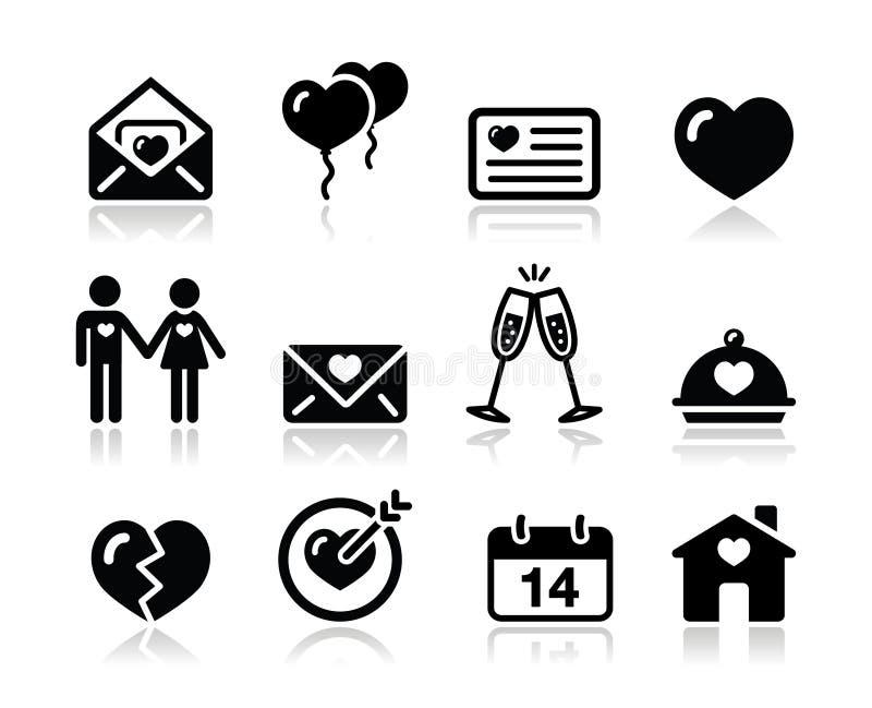 Μαύρο σύνολο εικονιδίων βαλεντίνων αγάπης διανυσματική απεικόνιση