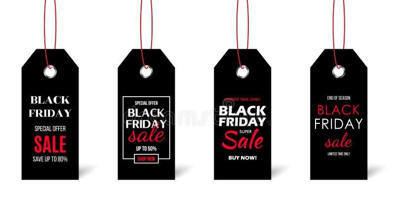 Μαύρο σύνολο τιμών Παρασκευής που απομονώνεται στο άσπρο υπόβαθρο Μαύρες ετικέτες με το κείμενο πώλησης απεικόνιση αποθεμάτων