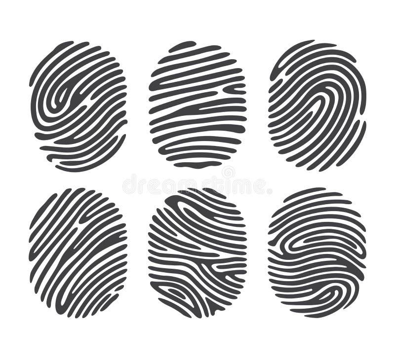Μαύρο σύνολο δακτυλικών αποτυπωμάτων διανυσματική απεικόνιση
