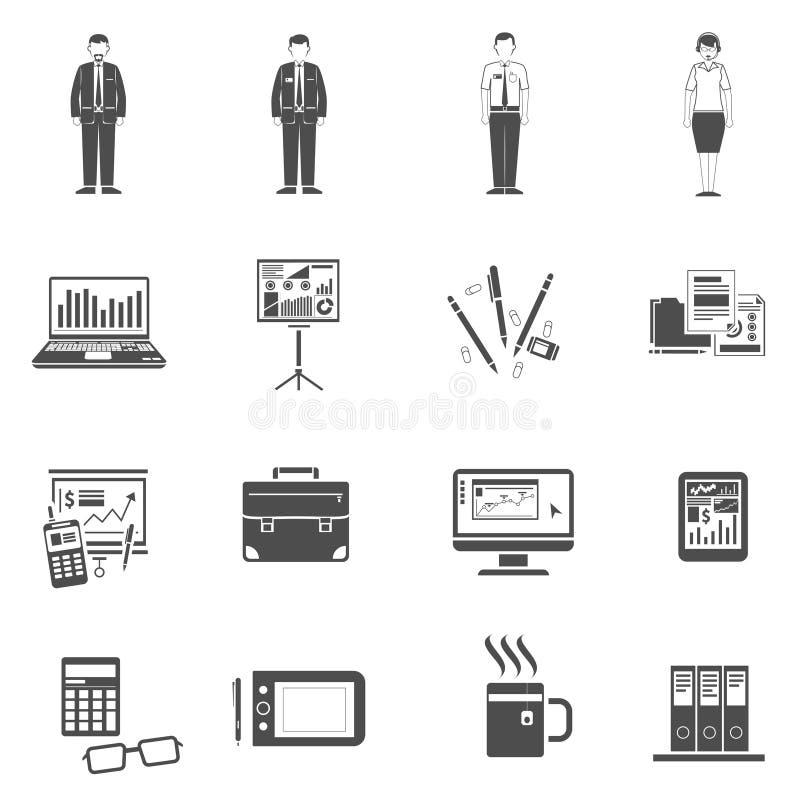 Μαύρο σύνολο εικονιδίων γραφείων διανυσματική απεικόνιση