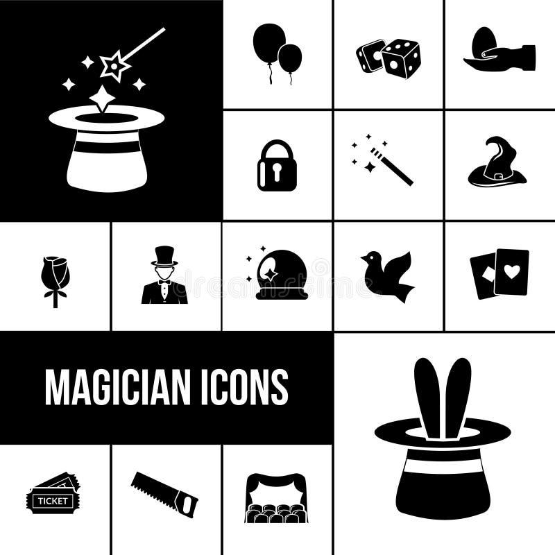 Μαύρο σύνολο εικονιδίων μάγων ελεύθερη απεικόνιση δικαιώματος
