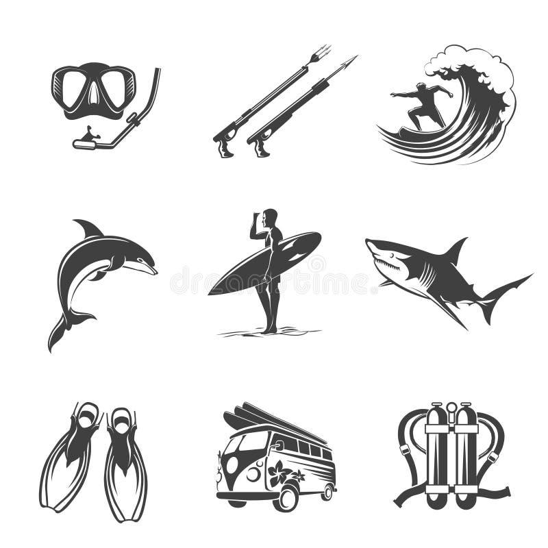 Μαύρο σύνολο εικονιδίων παραλιών Καλοκαίρι, διακοπές και διανυσματική απεικόνιση