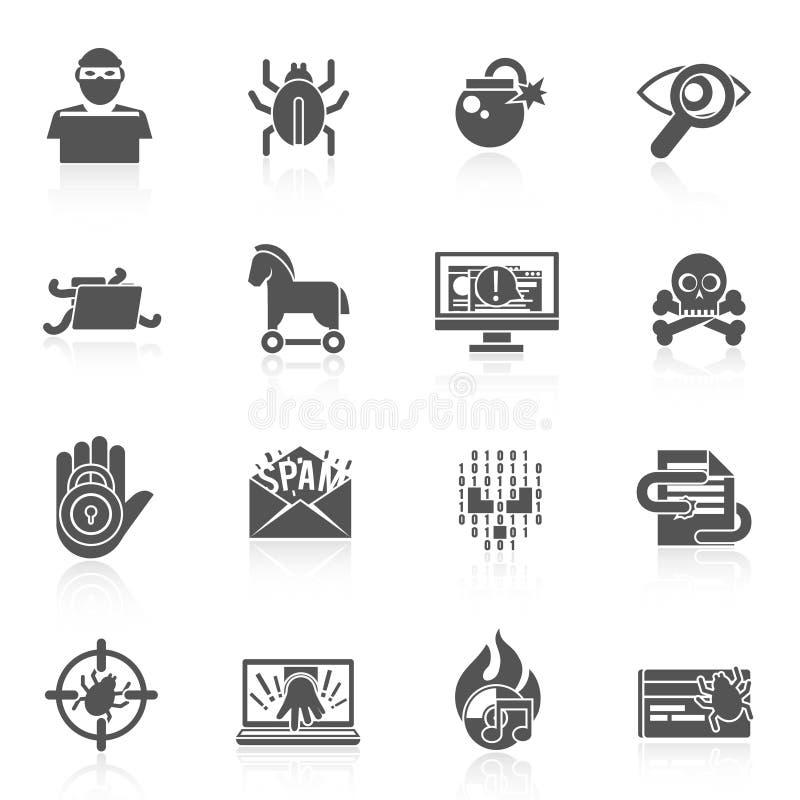 Μαύρο σύνολο εικονιδίων χάκερ διανυσματική απεικόνιση