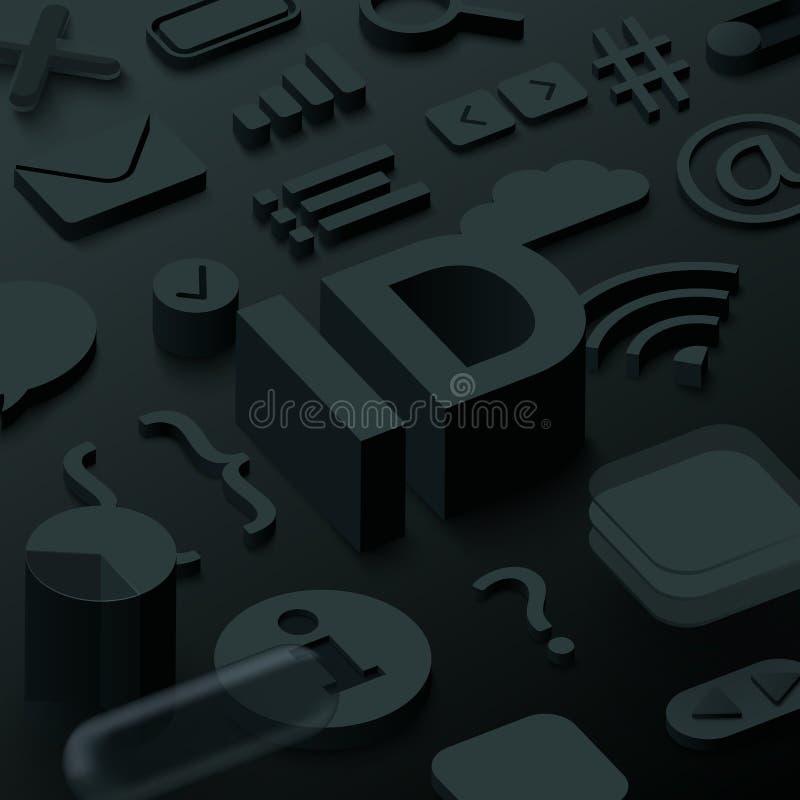 Μαύρο τρισδιάστατο υπόβαθρο ταυτότητας με τα σύμβολα Ιστού απεικόνιση αποθεμάτων